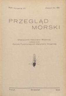 Przegląd Morski : miesięcznik Marynarki Wojennej, 1934, nr 66