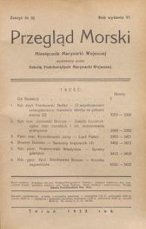 Przegląd Morski : miesięcznik Marynarki Wojennej, 1933, nr 52