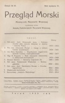 Przegląd Morski : miesięcznik Marynarki Wojennej, 1933, nr 53