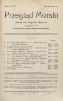 Przegląd Morski : miesięcznik Marynarki Wojennej, 1933, nr 54