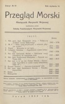 Przegląd Morski : miesięcznik Marynarki Wojennej, 1933, nr 57