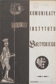 Komunikaty Instytutu Bałtyckiego, z.3
