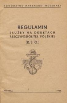 Regulamin służby na okrętach Polskiej Rzeczypospolitej Ludowej (RSO)