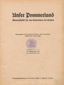 Unser Pommerland : Monatsschrift für das Kulturleben der Heimat : 13. Jahrgang 1928