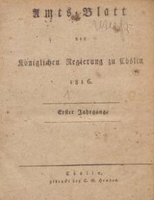 Amts-Blatt der Königlichen Regierung zu Cöslin 1816