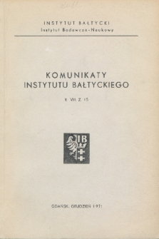 Komunikaty Instytutu Bałtyckiego, z.15