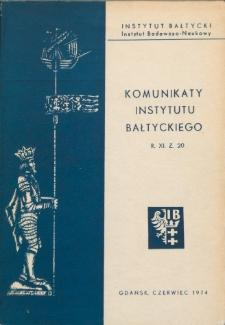 Komunikaty Instytutu Bałtyckiego, z.20