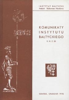 Komunikaty Instytutu Bałtyckiego, z.22