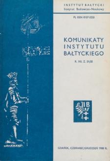 Komunikaty Instytutu Bałtyckiego, z.31/32