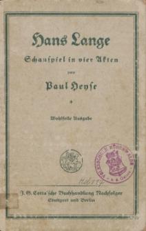 Hans Lange - Schauspiel in vier Akten