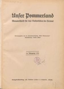 Unser Pommerland : Monatsschrift für das Kulturleben der Heimat : 14. Jahrgang 1929