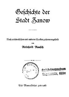 Geschichte der Stadt Zanow : nach archivalischen und anderen Quellen zusammengestellt
