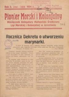 Pionier morski i kolonjalny : miesięcznik Delegatury Małopolski Środkowej Ligi Morskiej i Kolonjalnej w Jarosławiu, 1934