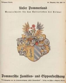 Unser Pommerland : Monatsschrift für das Kulturleben der Heimat, 1935, Nr. 7/8