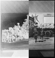 """Akwarela nr 7 Beckera, przedstawiająca Słupsk w czasie """"Potopu szwedzkiego"""" - reprodukcja"""