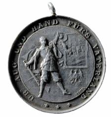 """Medal strzelecki z maksymą """"UB' AUG' UND HAND FŰR'S VATERLAND"""""""