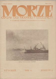 Morze : organ Ligi Morskiej i Rzecznej, 1931, nr 1