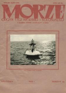 Morze : organ Ligi Morskiej i Kolonialnej, 1932, nr 12