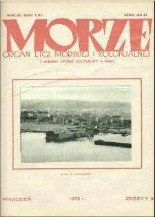 Morze : organ Ligi Morskiej i Kolonialnej, 1932, nr 9