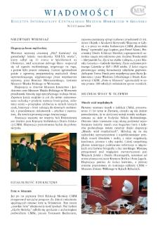 Wiadomości CMM : Biuletyn Informacyjny Centralnego Muzem Morskiego w Gdańsku, 2004, nr 3