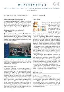 Wiadomości CMM : Biuletyn Informacyjny Centralnego Muzem Morskiego w Gdańsku, 2004, nr 4