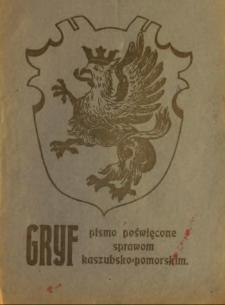 Gryf : pismo poświęcone sprawom kaszubsko-pomorskim, 1922, nr 1