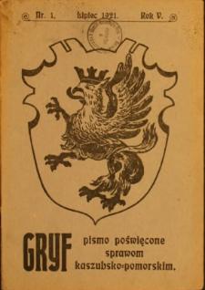 Gryf : pismo poświęcone sprawom kaszubsko-pomorskim, 1921, nr 1
