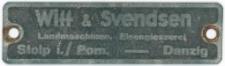 Tabliczka znamionowa z maszyny wyprodukowanej w fabryce Witt & Svendsen G. m. b. H.