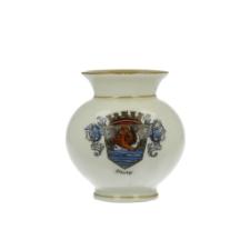 Flakon z herbem Słupska (Stolp) w koronie i z ozdobnymi labrami