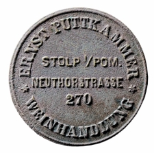 Żeton zastawny ze sklepu kolonialnego, Ernst Puttkammer, Weinhandlung, Stolp i/Pom.