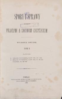 Spory i sprawy pomiędzy Polakami a Zakonem Krzyżackim = Lites ac Res Gestae inter Polonos Ordinemque Cruciferorum. T. 1