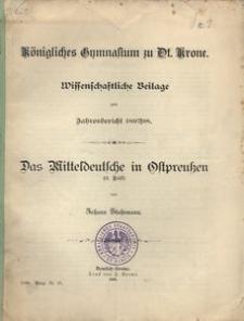 Königliches Gymnasium zu Dt. Krone. Schuljahr 1898/99. Zweiundvierzigster Jahresbericht erstattet vom Direktor des Gymnasiums