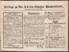 Beilage zu № 54 des Stolper Wochenblatt