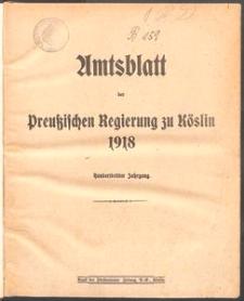 Amtsblatt der Königlichen Regierung zu Köslin 1918