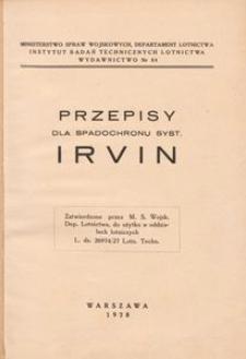 Przepisy dla spadochronu syst. IRVIN