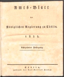 Amts-Blatt der Königlichen Regierung zu Cöslin 1833