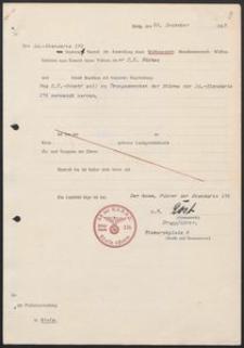 Pismo SA.-Standarte 176 do Polizeiverwaltung in Stolp z 31.12.1935