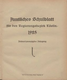 Amtliches Schulblatt für den Regierungsbezirk Köslin 1925