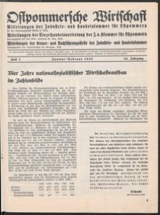Ostpommersche Wirtschaft, Januar/Februar 1937, Heft 1