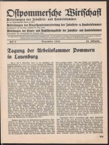 Ostpommersche Wirtschaft, Dezember 1937, Heft 8