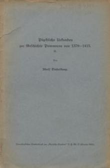 Päpstliche Urkunden zur Geschichte Pommerns von 1378-1415