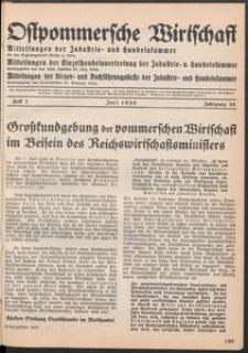 Ostpommersche Wirtschaft, Juli 1938, Heft 7