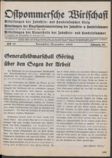 Ostpommersche Wirtschaft, November/Dezember 1938, Heft 10