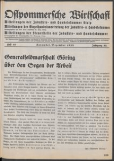 Ostpommersche Wirtschaft, Januar 1939, Heft 1