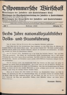 Ostpommersche Wirtschaft, Februar 1939, Heft 2