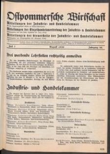Ostpommersche Wirtschaft, August 1939, Heft 7