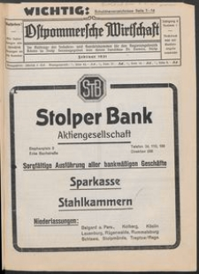 Ostpommersche Wirtschaft, Februar 1931, Nummer 1