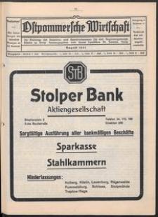 Ostpommersche Wirtschaft, August 1931, Nummer 4