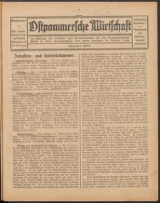 Ostpommersche Wirtschaft, Januar 1925, Nummer 1