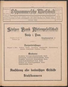 Ostpommersche Wirtschaft, Januar 1926, Nummer 1
